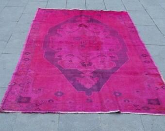 vintage overdyed turkish uoschak rug 235x135 cm 7,7x4,4 feet,home decor rug,area rug,medallion rug,tribal rug,anatolian rug,design rug