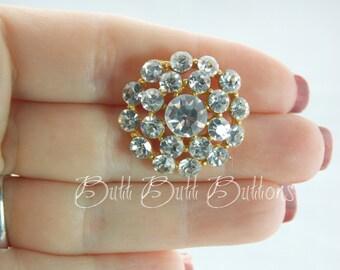 Vintage Gold Swarovski Crystals Rhinestone Button  RG133