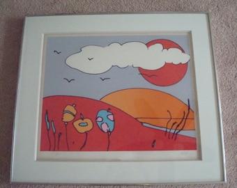 Peter Max signed serigraph Sun Moon Landscape 1977 artist proof