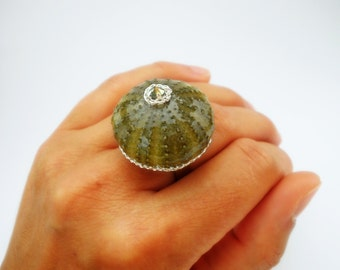 SEA URCHIN RING, big ring, big green ring, Sea urchin, Sea Urchin, Ring Ring