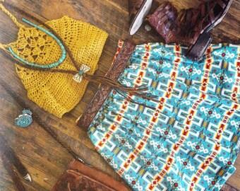 Tribal Southwestern Native Print Skirt