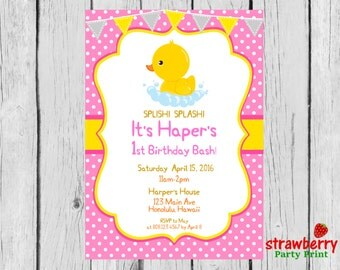 Rubber Duck Birthday Invitation, Rubber Ducky, First Birthday, Yellow Duck, Chalkboard