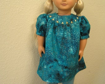 Embellished Teal and Gold Smock with Dusty Teal Knit Leggings for American Girl and Other 18-inch Dolls