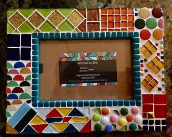 Eclectic mosaic picture frame