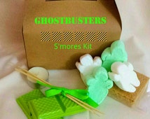 Ghost S'mores Kit- Green Slimer  white chocolate Ghostbusters Marshmallows Stay Puft & Slimer, S'mores kit kids love! Camping or fun gift!