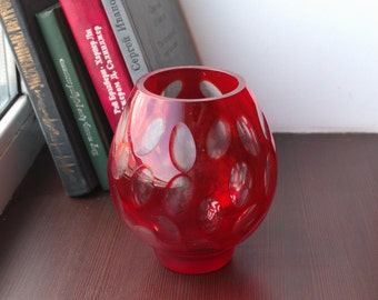 Vintage 60s Vase - Soviet Red Glass Vase with Oval Pattern - 1960s Modern Interior Vase - Retro Red Vase - Retro Home Decor