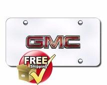 GMC OEM Logo Chrome on Chrome License Plate