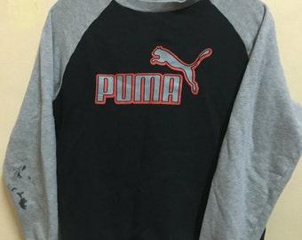 Vintage 90's Puma Silver Black Sport Classic Design Skate Sweat Shirt Sweater Varsity Jacket Size M #A185