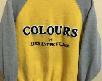 Vintage 90's Colours Classic Design Skate Sweat Shirt Sweater Varsity Jacket Size L #A349