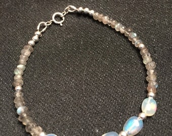 Labradorite and oval ethiopian fire opal bracelet