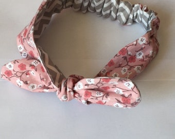 Elastic tie headband pink and grey