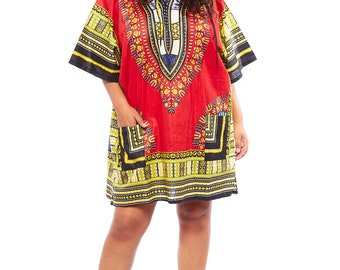 dashiki hooded dress top
