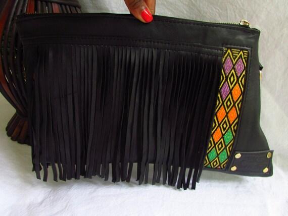 black women clutch, black fringe clutch, gift for her, fringe evening bag, women evening leather, leather evening bag, black evening bag