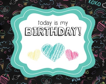 Chalkboard Doodles Birthday Banner and Sign