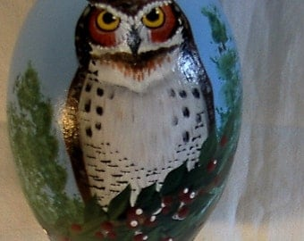 Hand painted goose egg with owl design.