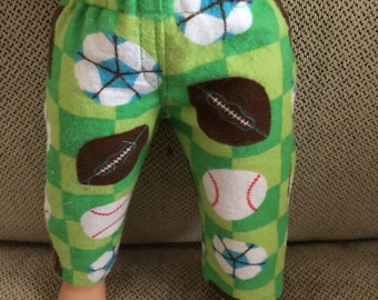 Pajama or Lounge Pants for American Boy or Other 18 Inch Dolls, Handmade, Sports, Balls