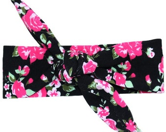 Black & Pink Rose Floral Print Top Knot Headband
