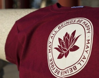 Youth Tees-May All Beings Be Happy & Free ~ Maroon / Loving Kindness /  Meditation / Kids Yoga Wear / Metta / Happiness / Dharma / Peaceful