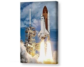 Canvas print of the Nasa space shuttle launch success explore exploration jet space universe earth journey rocket moon flight launch fire