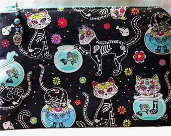 Day of the Dead Kitty Zipper Pouch with Sugar Skull zipper pull