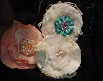 3 piece shabby chic fabric flower set