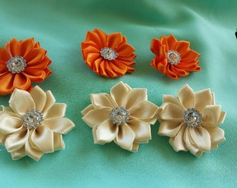 6 piece satin flower set