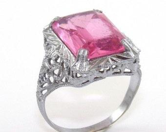 Vintage Antique 10K White Gold Pink CZ Filigree Ring Size 6