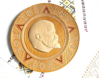 Wooden plates Collector plates Decorative plates Wall hangings Soviet symbol Award plaques History gift Folk art Lenin portrait Wood carving