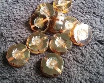 10 x Pretty 12mm Marbled Brown Hawaiian Flower Czech Glass Beads