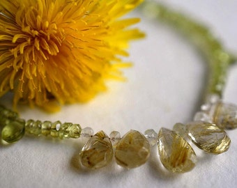 Gemstone necklace with rutilated quartz and peridot