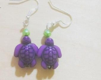 Purple Sea Turtle Earrings