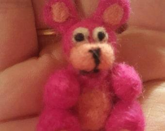 Miniature Needle Felted Pink Bear