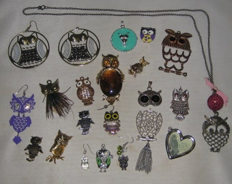 Owl Jewelry Craft Lot ~ Mixed Pieces For Parts Repair or Craft ~ LOT 1