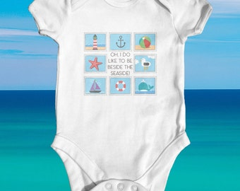 Beside The Seaside baby bodysuit | cute baby clothes | funny baby bodysuit | baby shower gift | newborn baby clothes | Holiday baby outfit