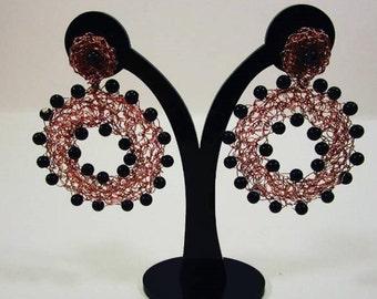 Rose Gold Earrings with Jasper