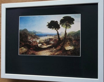 Mounted and framed print, 12''x16'' framed, Bay of Baiae by Turner