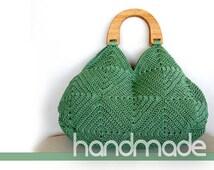 Crochet bag, Silver green bag, Granny square purse, summer bag, handmade handbag, crochet cotton bag