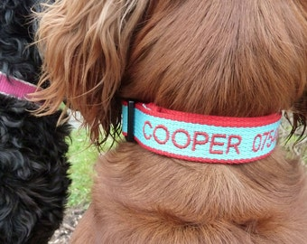 Dog Collars, Personalised, Embroidered and Engraved made from ECO Friendly Bamboo Fibre Blue,Red,pink.Navy and Brown.Free P&P.