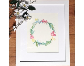 ORIGINAL 8x10 water color painting. Matted and framed in white 11x14 frame.