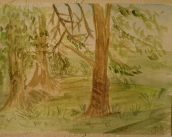 Trees, watercolour, 14.8 x 21 cm