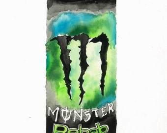Monster Energy Watercolor painting