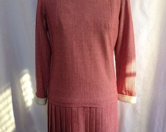 Vintage, Wool Pleated Dress, Size 12, The Villager, Pink Red Houndstooth