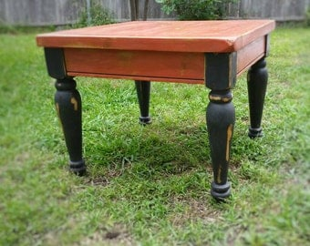 Distressed, Heavy-duty, Square Pine Coffee or End Table