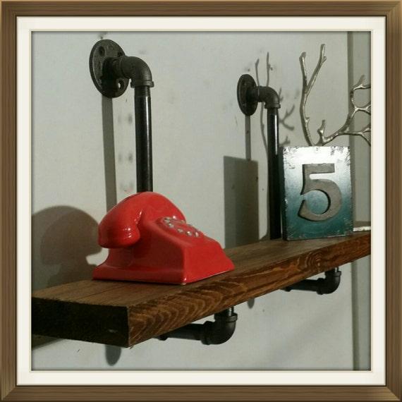 floating shelf pipe shelves 12 inch deep shelves industrial. Black Bedroom Furniture Sets. Home Design Ideas