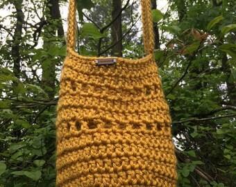 Handmade Crochet Mustard Yellow Bag