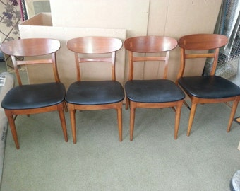Mid Century Danish Dining Chairs - Set of 4 Chairs with Black Leather Seats.