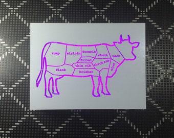 Light Art, Cow Steak Cuts,butcher chart,kitchen art meat cut,butcher diagram,cow acrylic,cow anatomy,dairy cow,Butchery,steak,Butcher beef,