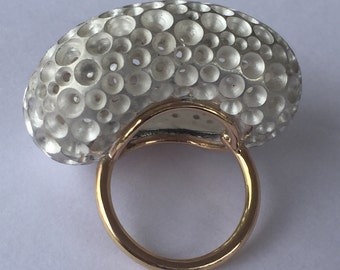 Maxi ring bubble , 18kt rose gold, silver