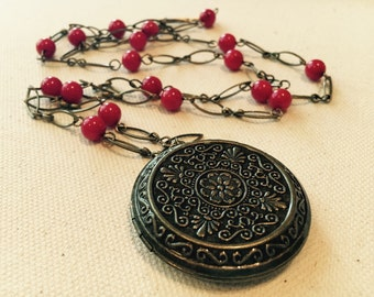 Promises to Keep - Long Locket Necklace With Red Beads