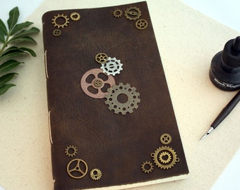 Steampunk Distressed Leather Journal - Notebook - Sketchbook  - Travel Journal - Rustic - Handbound Book